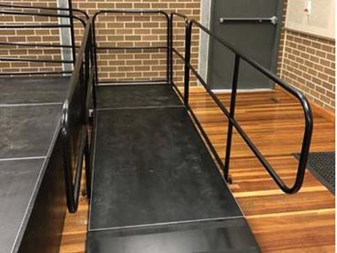 Access ramp with hand rails