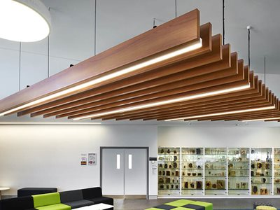Decowood suspended ceiling beams with intergrated lights in commercial museum space