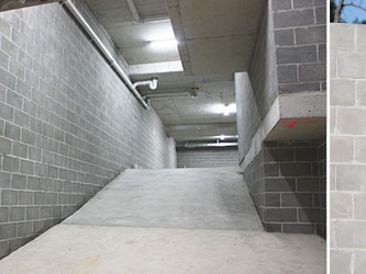 Underground parking with grey concrete blocks