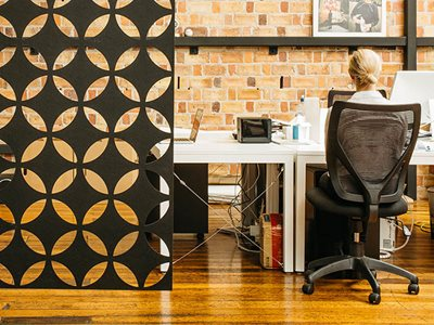 hanging acoustic panel pattern office interior