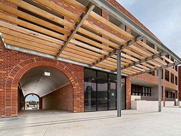The brick inlay system was selected for the façade to achieve efficiencies