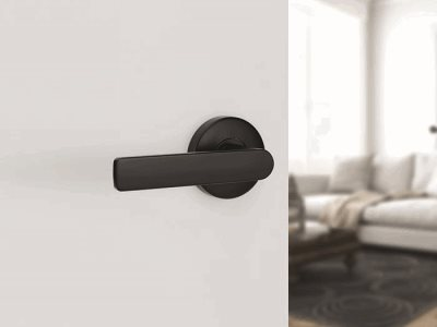 Lockwood matt finish door handle insitu round profile