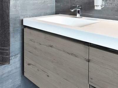 Bathroom interior with decorative timber surface