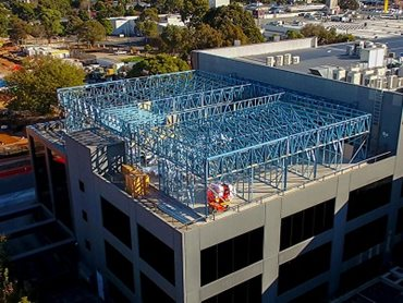 Steel truss office building