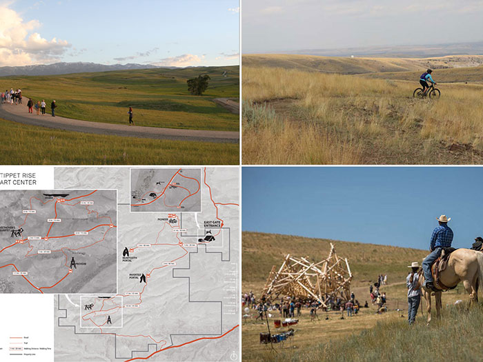 Collage of Tippet Rise Art Center with map