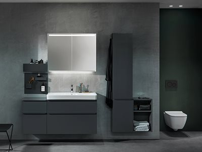 Tone-in-Tone Products in Modern Grey and Dark Green Residential Bathroom Interior