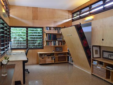 Single dwelling new small and flexible Anne Grimes house Brisbane showing flexible furniture