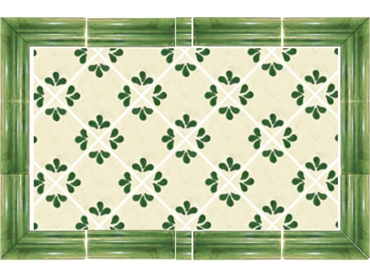 Petals with Green Edge Tile Display