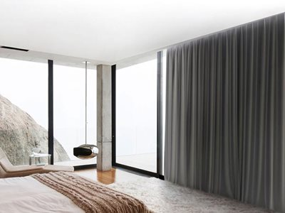 Verosol Glydea Motorised Curtain Track System Modern Bedroom Interior