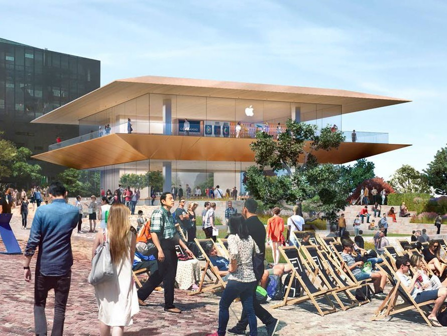 An artist's depiction of the new Apple store proposed for Federation Square. Image: Daniel Andrews