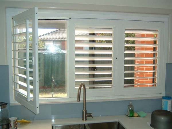 ATDC's Security365 lockable plantation shutters in a kitchen application
