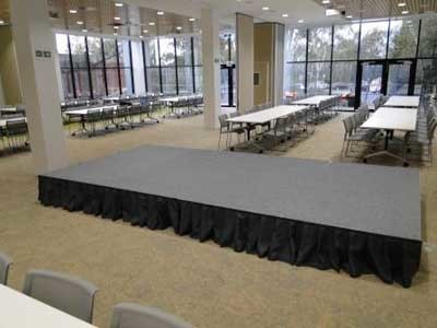 QUATTRO Fold & Roll stage system when the conference room is fully opened up