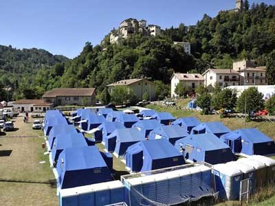 Tent camp in Arquata del Tronto for people displaced by the earthquake (Photograph: Cristiano Chiodi/EPA)