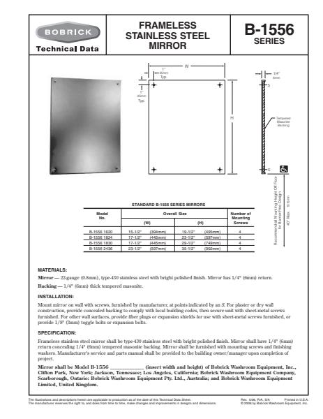 Safety Glass Frameless Stainless Steel Mirror