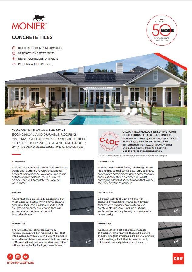 Monier Roofing Concrete Tile Flyer