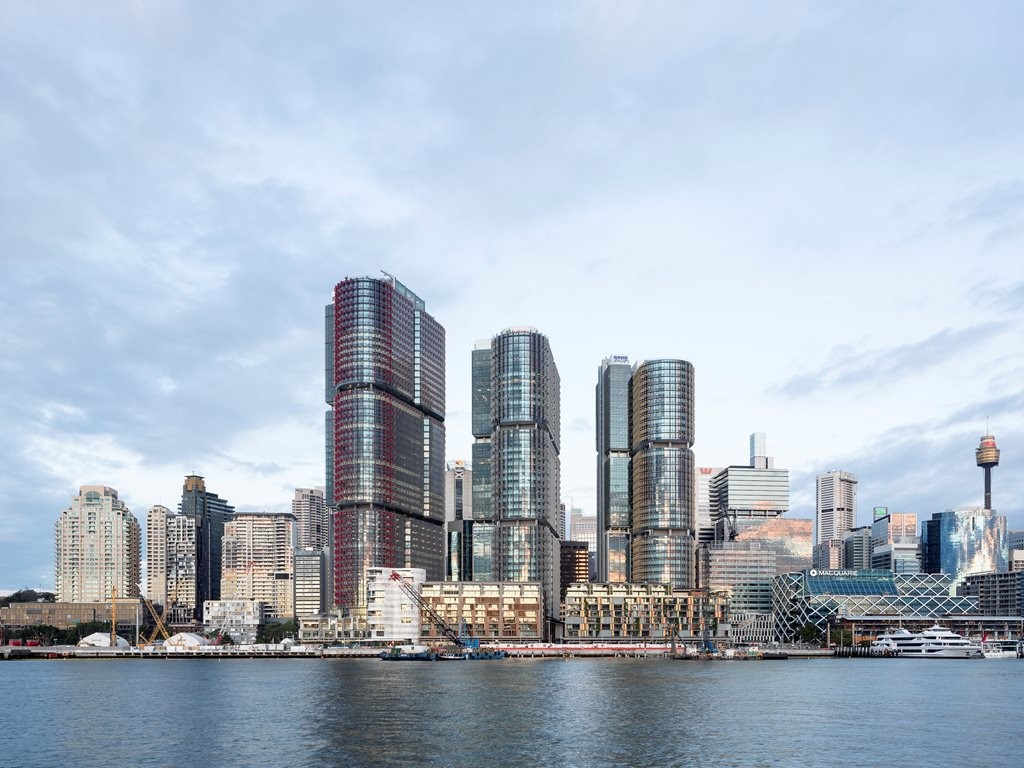 Looking east from Pyrmont at the new International Towers. Photography by Brett Boardman