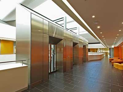 Ultraflex custom manufactured aluminium composite panels and solid stainless steel sheets for lift cladding