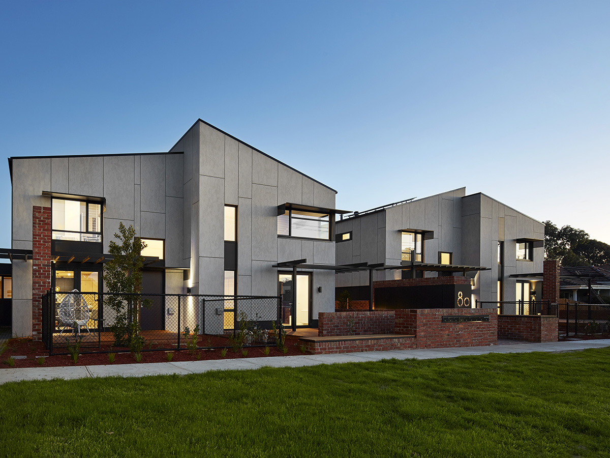 Clyde Mews consists of 8 dwellings including 6 double storey, family centric, townhouses and 2 units, ranging in size from one to three bedrooms. Image: Supplied