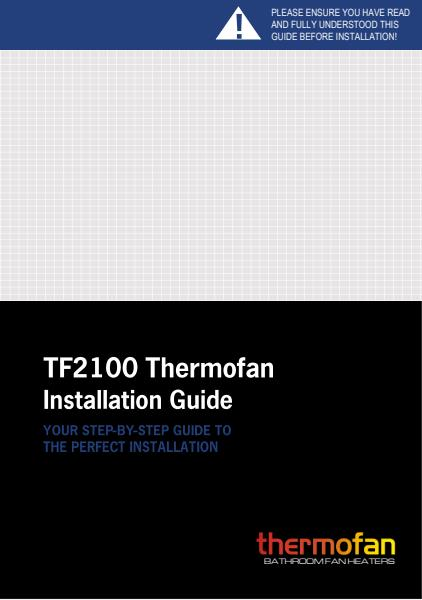 Thermofan 2100 installation guide