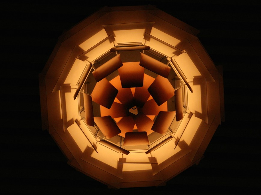 Poul Henningsen's Artichoke Lamp, viewed from below at London's Park Plaza Hotel. Image: Wikimedia Commons