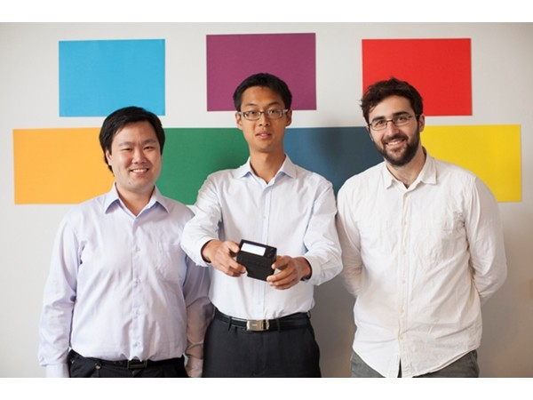 Co-founders of SwatchMate Rocky Liang, Paul Peng and Djordje Dikic with an early prototype of the Cube.
