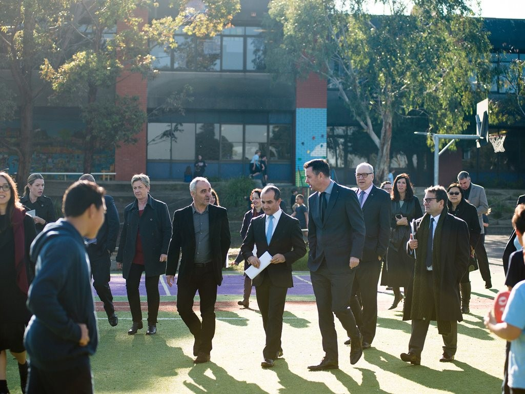 Hayball director Richard Leonard and Victorian minister for education James Merlino on the site where a new secondary school will be built in Footscray. Image: supplied