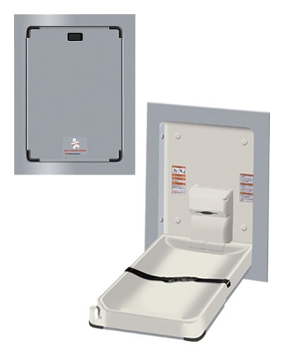 Baby change station vertical stainless steel clad recessed