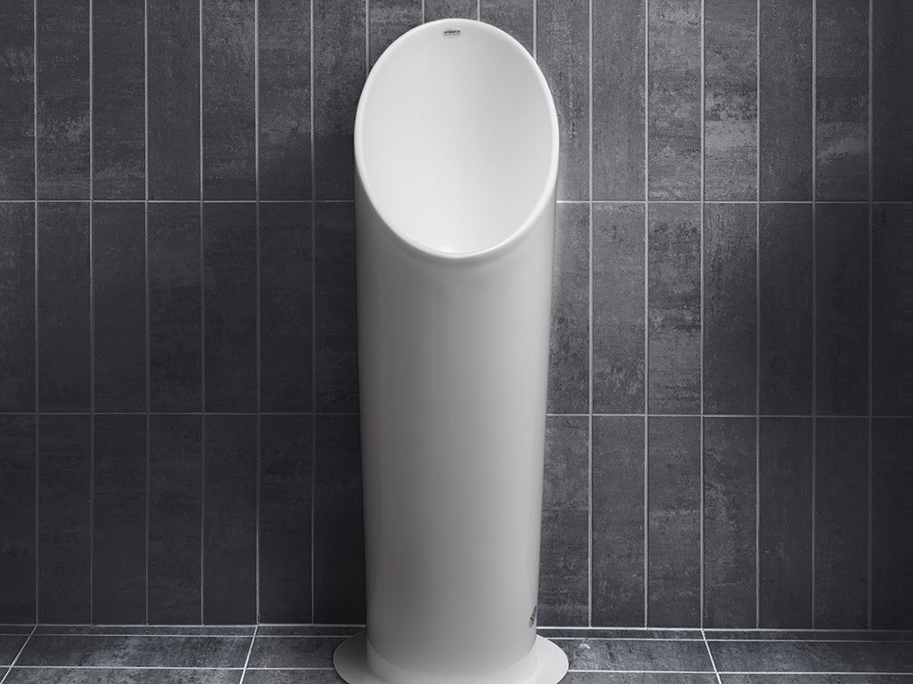A designer waterless urinal, the Pylon from Uridan was specifically created for clubs, pubs, restaurants and hotels. it can be installed over pre-existing toilet wastes to reduce costs.