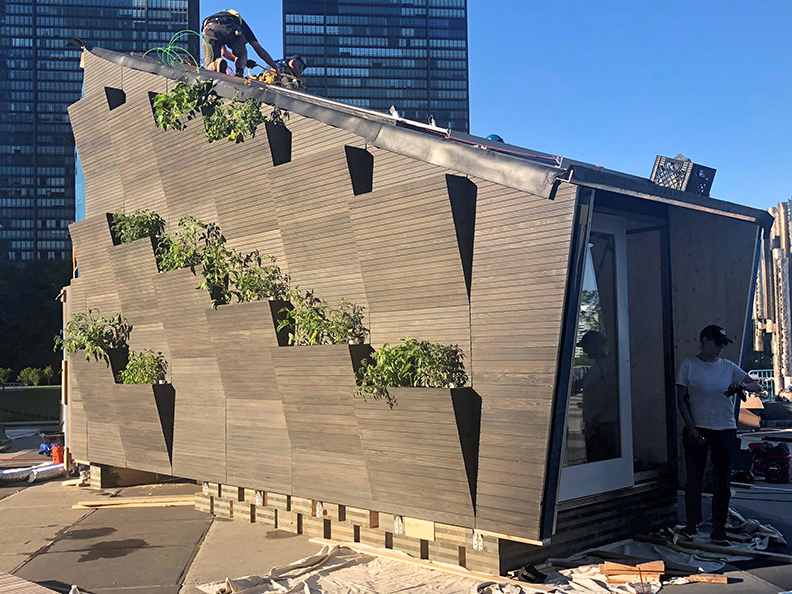 A new 22sqm eco-housing module has been unveiled in New York City, designed to spark public discussion and new ideas on the provision of sustainable and affordable housing, while limiting the overuse of natural resources and climate change. Image: Supplied