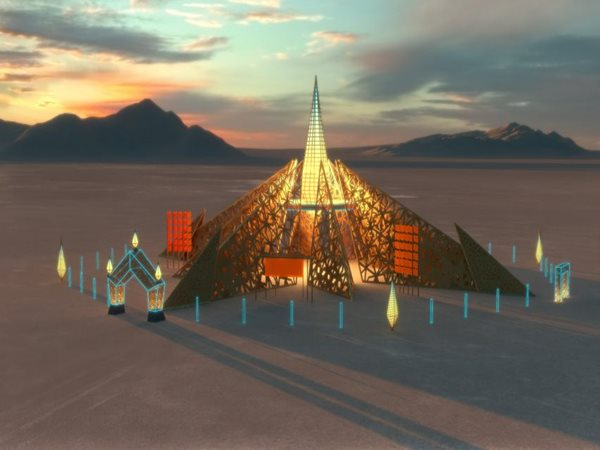Wooden temple in desert