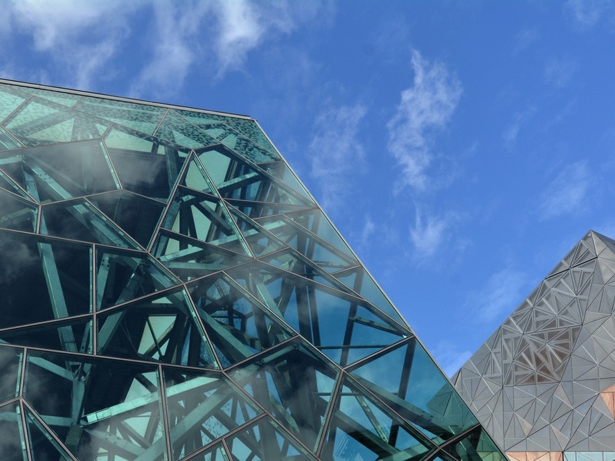 The impressive computer aided design of the atrium at Melbourne's Federation Square. Shutterstock/ChameleonsEye
