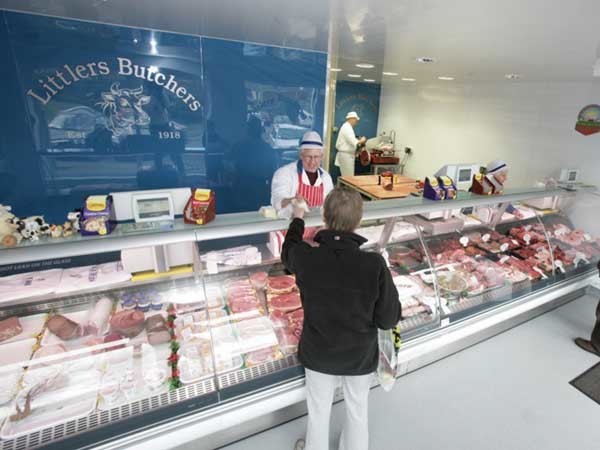 Altro Whiterock Chameleon wall cladding at Littlers Butchers