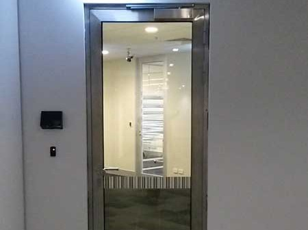 One of the stainless steel fire doors at CBA Melbourne