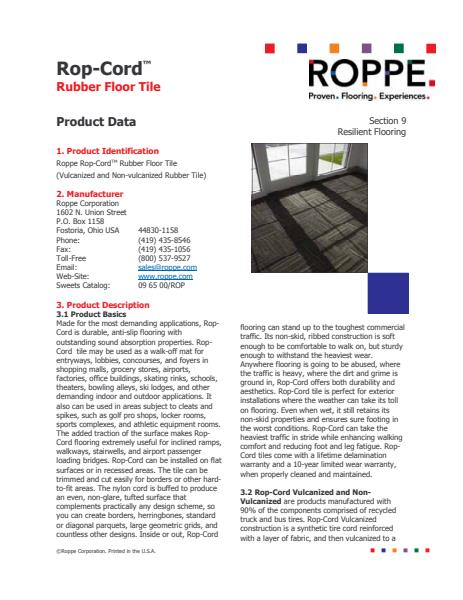 Rop-Cord Rubber Floor Tiles