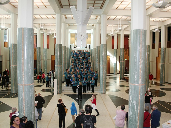 The famous marble foyer at Parliament House in Canberra features 48 marble columns that evoke the muted pinks and greens of the Australian landscape as well as the colours of the two Parliamentary Chambers