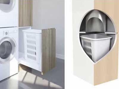 Hideaway Bins' new base mount laundry hamper