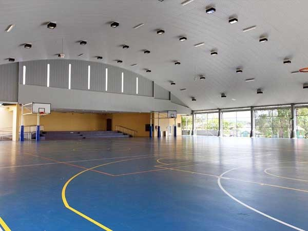 The junior school multipurpose hall at Marymount College featuring Spantech's curved roof