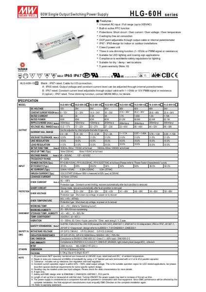 HLG-60HSpecification Sheet