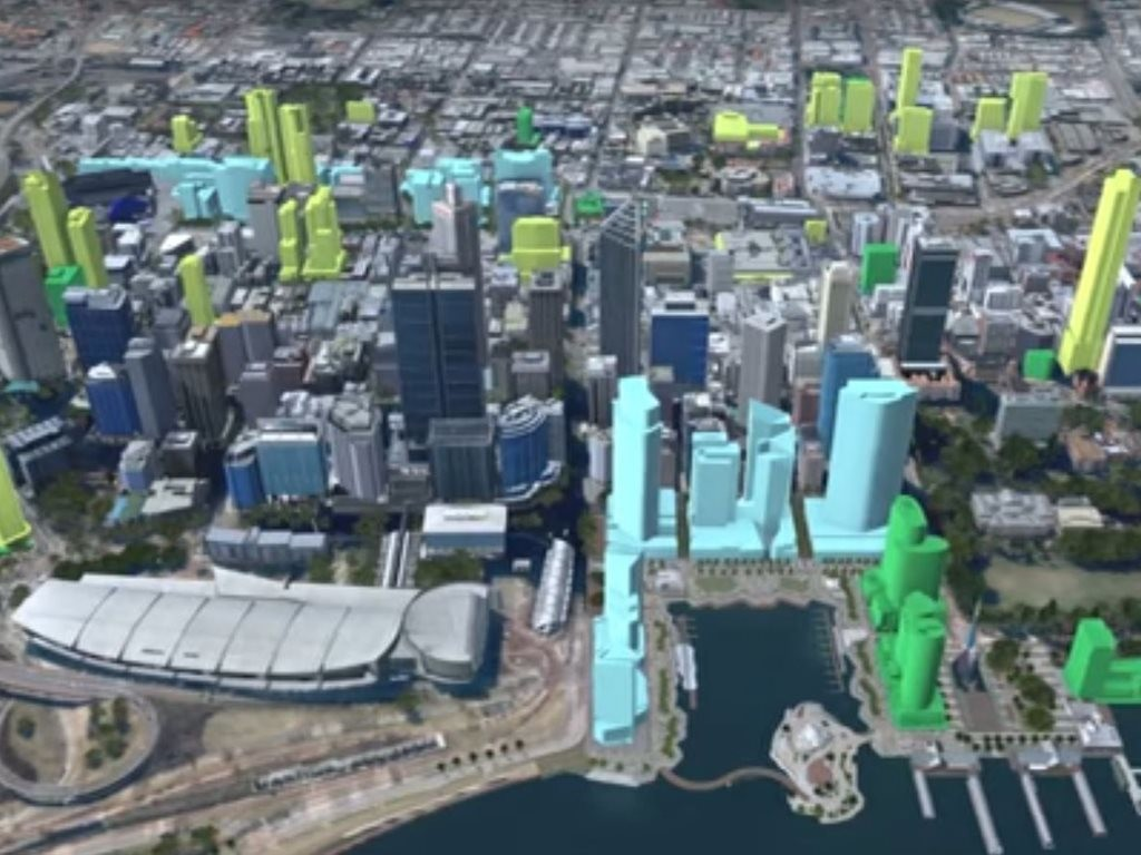 City of Perth have released 3-D model images showing how the approx. 60 new developments will re-shape the city skyline. Image: City of Perth