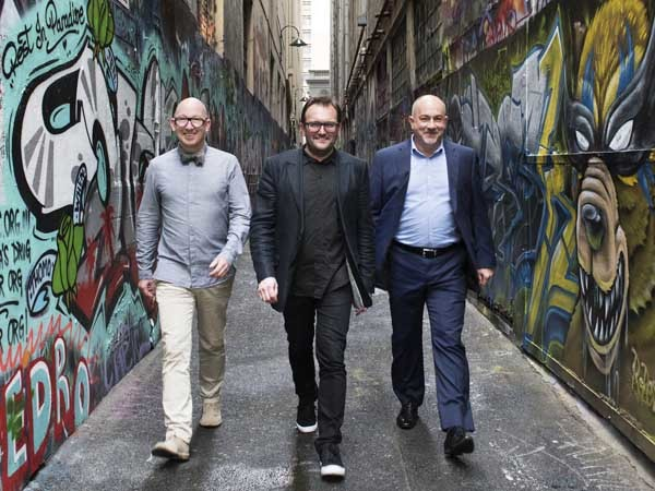 (L-R) Adam Scott, Free State Creative Director, Rob Backhouse, Hassell Managing Director, Gerard Corcoran, Hassell CEO