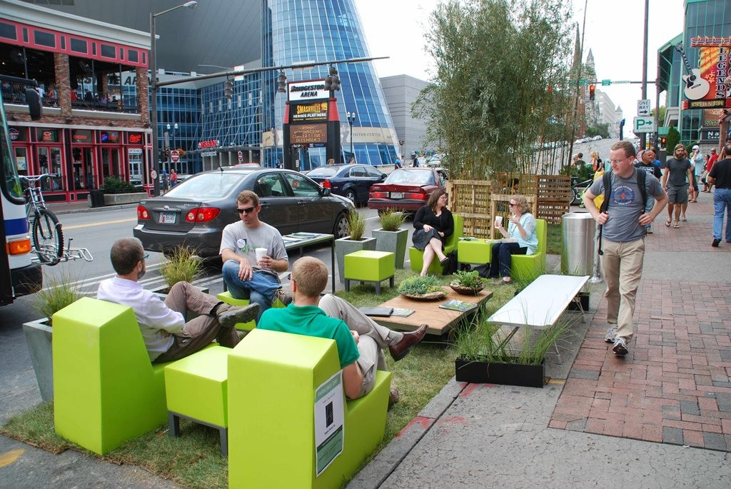 PARK(ing) Day is a annual global event where metered parking spaces, like this one in Nashville, Tennessee, are temporarily transformed into temporary public places. Image: parkingday.org