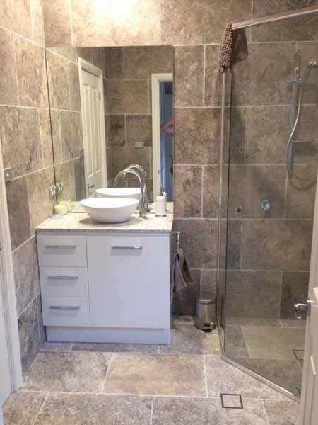 Travertine in a bathroom application