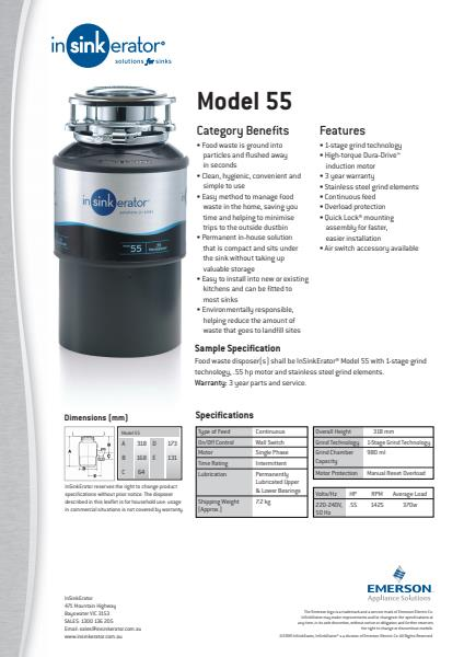 Model 55 Technical Specification