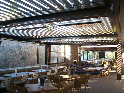 Vergola operable louvre roof (Winston Hills Hotel - powder-coated colour flat roof steel frame)