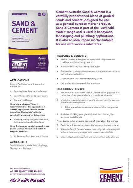 Sand & Cement Product Data Sheet