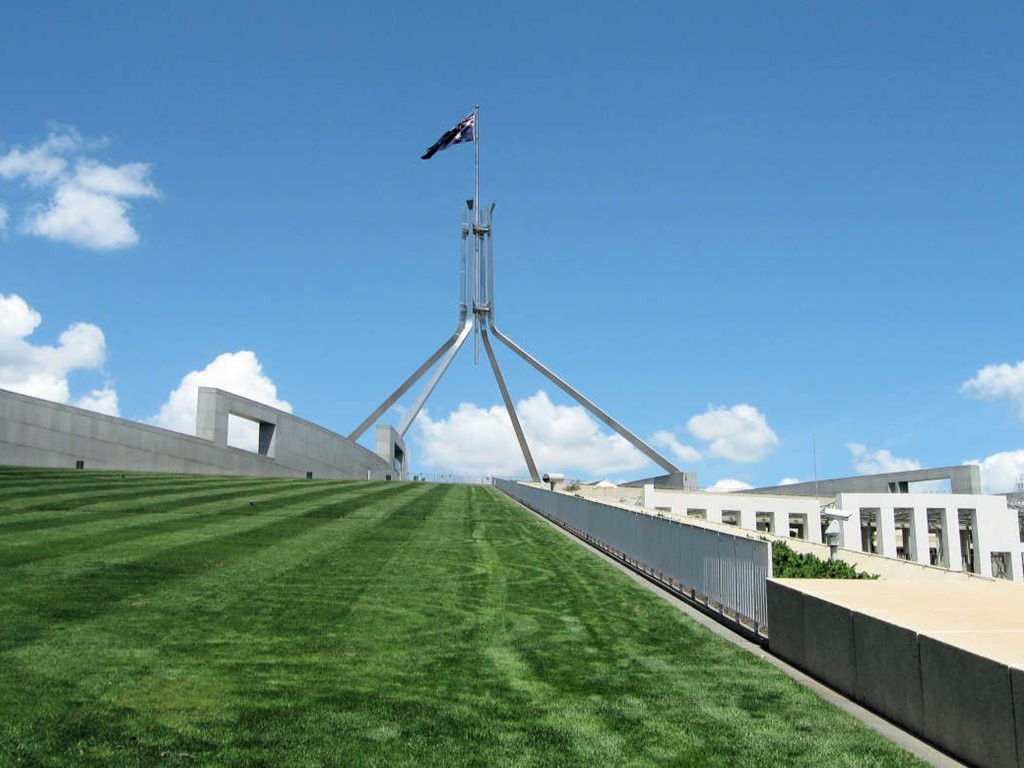 In what has caused a few eyebrows to be raised across the architecture world, a new 2.6-metre-high anti-terror fence is being erected in front of Australia's iconic Parliament House in the nation's capital, Canberra. Image: Sydney Excursions
