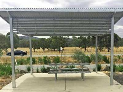 Furphy Provincial Shelter and Steel Slatted Council Picnic Setting