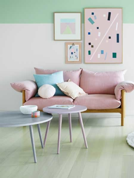 Pastel shades are ideal for revamping pieces of feature furniture or giving hardwood floors a new lease on life