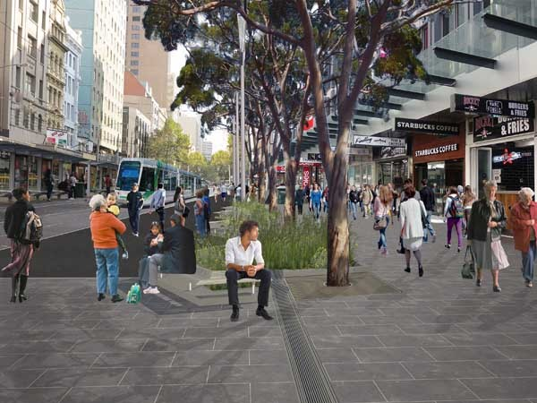 An artist's rendering of the proposed upgrade of Elizabeth Street. Image: City of Mlebourne