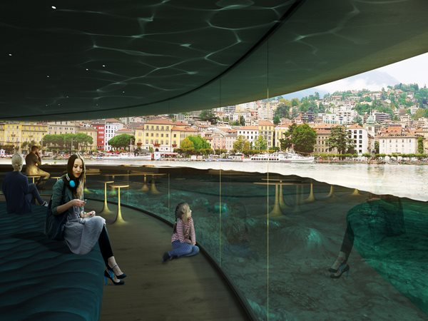 Glass public space looking into lake in Lugano